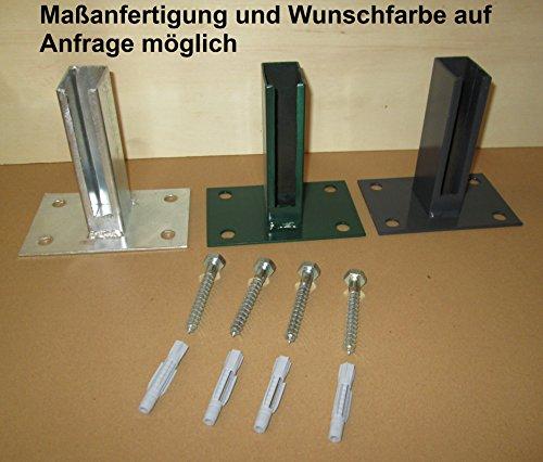 Bodenplatte, zum Aufschrauben 60x40 mm - für Doppelstabpfosten (grau Ral7016)