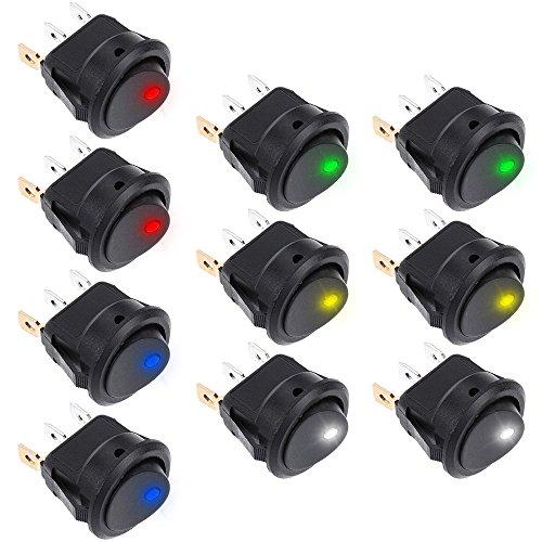 Rovtop 10 pcs Kippschalter 12v DC 20A Car Boot Truck Trailer Auto KFZ beleuchtet Runde Schalter Wippschalter Button mit 5 Farbe LED Dot beleuchtet