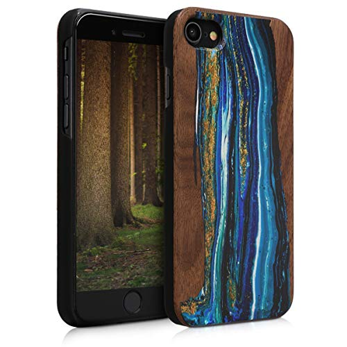 kwmobile Case Compatible with Apple iPhone 7/8 / SE (2020) - Wood Case Hard Wooden Design Cover - Watercolor Waves Blue/Brown