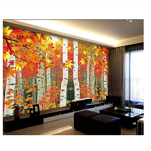 Lovemq Custom Photo 3D Wallpaper Red Maple Leaf Birch Tv Background Wall Home Decor Living Room 3D Wall Murals Wallpaper For Wall 3 D-130X80Cm