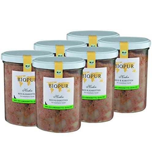BIOPUR Bio Hundefutter Huhn, Reis & Karotten für Hunde 6x400g