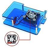VICKSONGS Caja Kit para Raspberry Pi 4 Caja con 2 Pin Ventilador [5V/0,16A] de Refrigeración y Tapa de Ventilador, Ultra Silencioso, Fácil de Instalar (Azul)