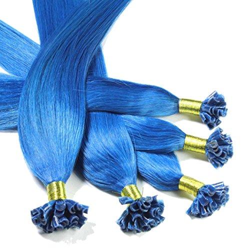 Hair2Heart 25 x 0.5g extensions cheveux keratine à chaud - 50cm, #Bleu, lisse