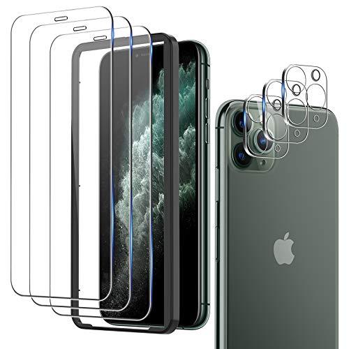 omitium 6 Pack Protector Pantalla Compatible con iPhone 11 Pro Max, 3 Cristal Templado y 2 Cámara trasera de cristal templado Marco de Alineación Incluido 9H Vidrio Templado para iPhone 11 Pro Max