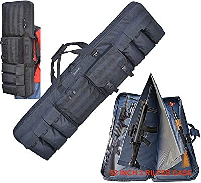 "Explorer Target Double 3 Rifles Case 52"" Length Padded Sniper Scoped Tactical Hunting Carrying Gun Shooting Mat, Adjustable Backpack Strap, Pistol and Magazine Pouch (Black 52 D52 Rifle case)"