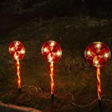 Vanthylit 3PK Peppermint Pathway Markers with 48LT Multi-Functions Fairy Lights Christmas Lawn Candy Cane Stake Lights for Outdoor Decorations