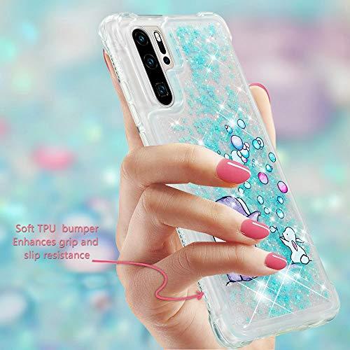 Misstars Glitzer Flüssig Hülle für Huawei P30 Pro, Bling Sparkle Treibsand Handyhülle Transparent mit Muster Elefant und Hase Design Weich TPU Silikon Stoßfest Schutzhülle - 6