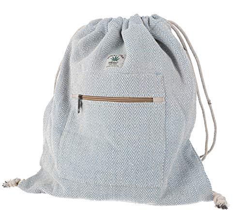GURU SHOP Ethno Hanf Rucksack mit Fischgrätenmuster, Turnbeutel, Sportbeutel - Blau, Herren/Damen, Size:One Size, 40x35 cm, Ausgefallene Stofftasche