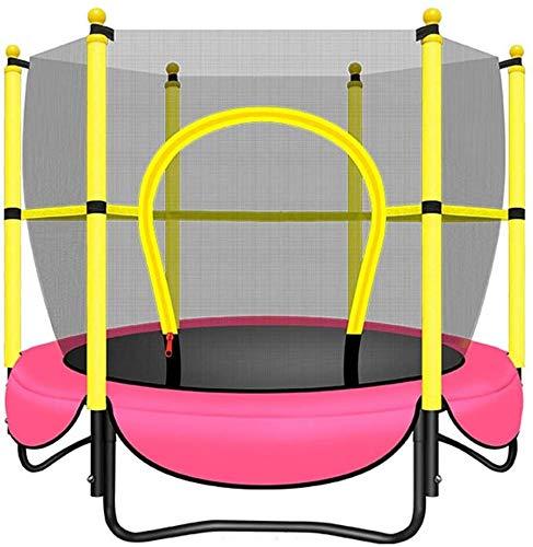 Mopoq Kinder Mini-Trampolin 360 ° Safety Net Indoor Outdoor-Trampolin Koordination und Gleichgewicht Höchstgewicht 100kg (Color : Rosa)