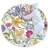 エリアラグ軽量 美しい花のシームレスなパターン フロアマットソフトカーペット直径39.4インチホームリビングダイニングルームベッドルーム