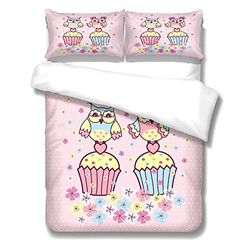 zzqxx Kids Duvet Cover Color owl Print Single Duvet Quilt Cover 55.1 x 78.7 inchs Bedding Set Hypoallergenic Polyester Zippered Revrsible with 2 Pillowcases Ultra Soft