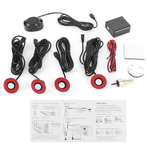 Yctze Kit de radar de marcha atrás, sensores de aparcamiento de coche de 16,5 mm Sensor de radar de reserva integrado Kit de alarma de marcha atrás Asistencia con zumbador de audio Kit(Blanco)