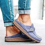 Sandalias de mujer de tamaño grande, color sólido, hebilla, parte inferior gruesa, medio pedal, zapatillas de playa, sandalias para caminar al aire libre, playa, azul, 38
