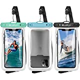 Floating Waterproof Phone Case - RAXFLY 3 Pack IPX8 Universal Waterproof Phone Bag Pouch Floating up to 8.8oz Dry Bag Case Compatible with iPhone Samsung up to 7 inch Devices Beach/Surfing