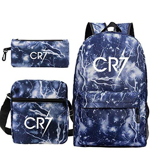 ZEH Cristiano Ronaldo CR7 3pcs/Set Backpack School Bags for Girls Boy Laptop Travel Backpack Women Backpacks Shoulder Bags Pen Bag 2 3Pcs Set FACAI (Color : 6, Size : Shoulder bag)