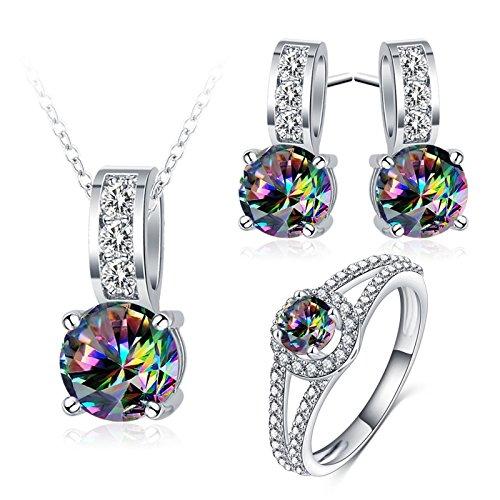 AnazoZ sieradenset modesieraden, oorbellen ring halsketting met hanger, kleurrijke zirkonia strass voor dames verlovingssieraden
