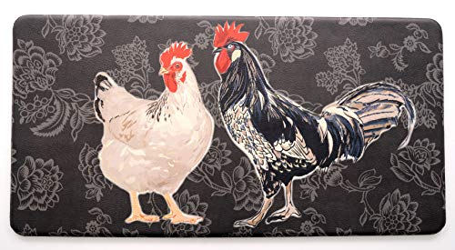 Chicken and Rooster Floor Comfort Mat Black, 20 x 39 inches
