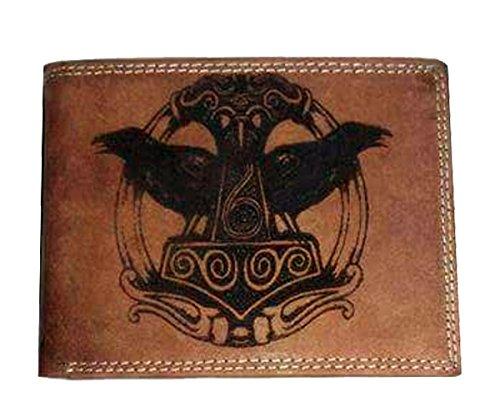 Geldbörse Portemonnaie Brieftasche Thors Hammer mit Odins Raben Hugin und Munin, Wikinger Gott der germanischen nordischen Mythologie echt Leder für Damen und Herren Fächer für Karten Münzfach