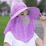 UV Schutz Schutzkappe,Damen Sommer Bucket Hat Faltbar Anglerhut Mit Mesh Sonnenhut Zum Jagen Wandern Camping Reisen Angeln (Color : Purple)