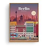 Póster de turismo Amsterdam Bangkok Barcelona Berlín póster de pintura impresiones lienzo cuadro de pared para la decoración de la habitación del hogar -50x70cm sin marco
