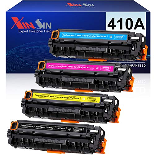 XINSIN Compatible Toner Cartridges Replacement for HP 410A CF410A 410X CF410X for Color Laserjet Pro MFP M477FDW M477FNW M477FDN M452DN M452NW M452DW M477 M452 Printer, 4-Pack