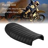 Asiento Universal Racer para café hecho de cuero acolchado impermeable con esponja universal para Honda Serie CG Motocicletta, negro