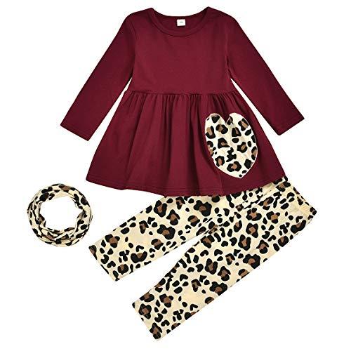 Tianhaik Kids Peuter Meisjes Outfits Set Luipaard Print Lange Mouw Shirt+Luipaard Legging+Nek Gaiter voor2-7T