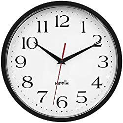 HIPPIH 10 Inch Silent Wall Clock, Black Frame Non Ticking Decorative Clocks, Battery Powered Quiet Sweep Clock for Home, Office, School