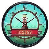 LIMN Reloj de Pared Let Sail Away Timón Beacon Reloj de Pared de...