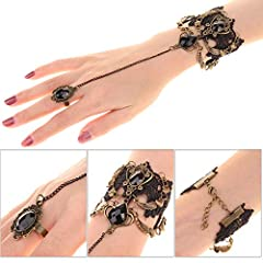 HOWAF Black Lace Choker Gothic Tattoo Choker Necklace Bracelet Set Gothic Necklace Lolita Choker Chain Bead Pendant Necklace Bracelets Rings for Women Girls Halloween Costume Party Accessories #1