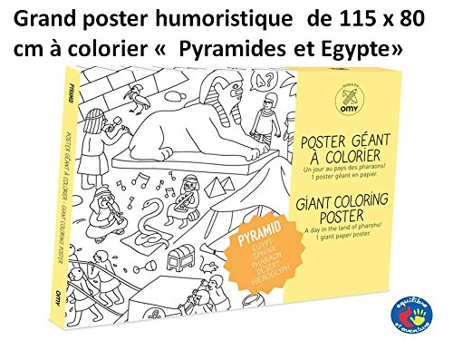 Equilibre et Aventure Grand Poster Egypte & Pyramides à colorier 100 x 70 cm avec Tous Les lieux emblématiques du Pays représentés avec Humour à colorier
