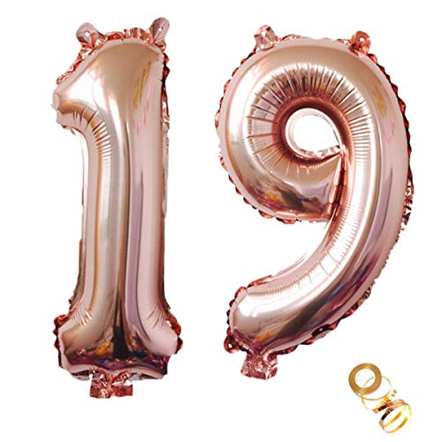 Luftballons Zahl 19, Nummer 19 Luftballon Rosegold Mädchen Luftballons 19. Geburtstag Folienballon, Zahl 19 Rose Gold Nummer 19 Ballons Große 32 Zoll Riese Heliumfolie Ballon