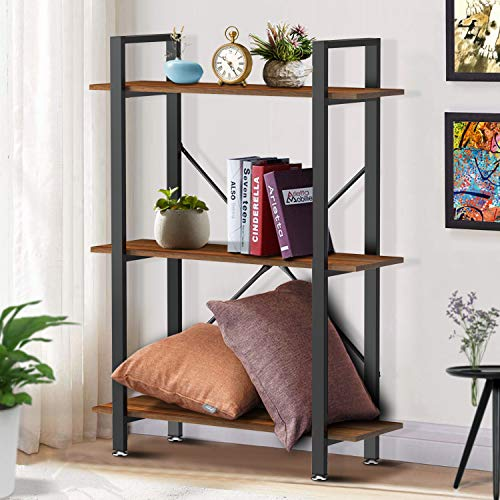 Yesker 3 Tier Bookshelf, Industrial Style Bookcase with Wood and Metal Frame, Open Storage Bookshelf for Home Office, Vintage Brown