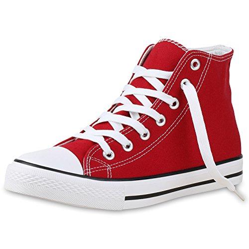 SCARPE VITA Herren High Top Sneaker Sportschuhe Kult Schuhe Canvas Stoff Freizeitschuhe Schnürer Sportliche Turnschuhe 135087 Rot Weiss 43