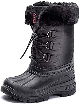 YUIRQIIN Waterproof Slip Resistant Winter Boots for Kids
