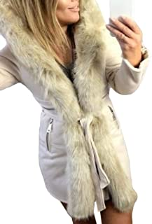 Women Hooded Parka Jacket Long Sleeve Belt Warm Winter Coat Faux Fur Lined Outwear