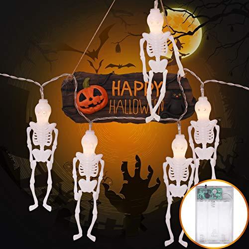 Verlichting voor slaapkamer, regenbooglicht, voor de tuin, thuis, halloween-slingers, decoratie voor duivels, Halloween, wit, 20 lampen van 2,5 m