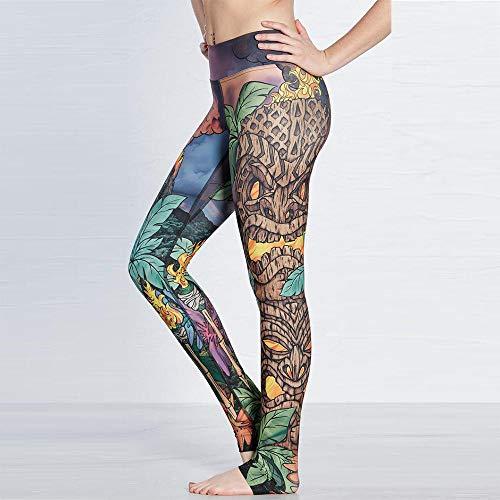 Leggins Mujer Fitness Push Up Cintura Alta La impresión pintada a mano era de glúteos finos deportivos transpirables súper elásticos de secado rápido para damas nueve puntos yoga pants-yoga-0258_XXL