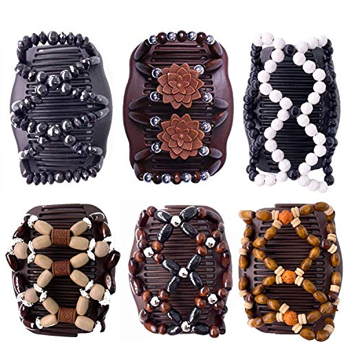 haarkamm elastisch perlen,haarspange dehnbar,magic haarklammer,magic comb hair,Doppel Haarkämme,stretch hair clip,magic beads haarschmuck,magic haarspange (6 Stück)