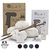 Needle It - Kit completo para tejer lana principiantes - Bufanda de lana - Idea de regalo (Beige Claro)