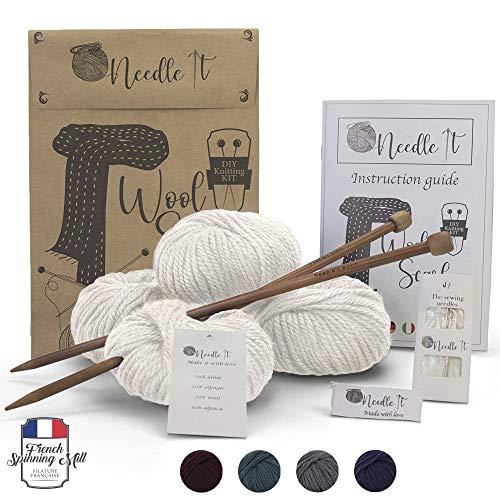 Needle It - Komplettes Strickset für Anfänger mit Stricknadeln - Strickschal aus Wolle - Geschenkidee (Hellbeige)