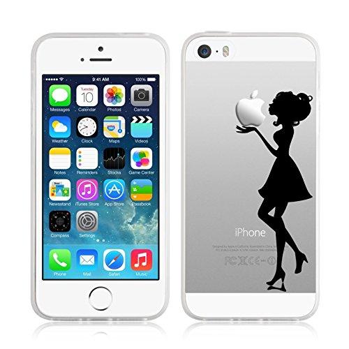 JammyLizarD iPhone 5/5s und iPhone SE Hülle Transparente Schutzhülle Cover aus Silikon Sketch Backcover Hülle, Kuss