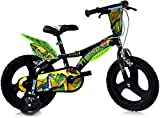 Bicicleta infantil dinosaurio Trex, con certificado TÜV, original, con ruedines de apoyo, ideal como regalo para niños (14 pulgadas)