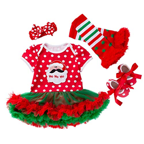 Cuteelf Christmas Baby red and White Point Clothes Skirt Shoes Socks Hair Accessories Four-Piece Suit Christmas Baby Girl Christmas Print Jumpsuit Suit