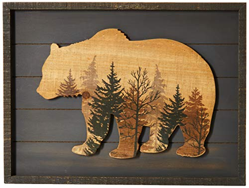 """NIKKY HOME Cute Bear in The Forest Decorative Wood Framed Wall Art Prints Cabin Decor, 16"""" x 12"""", Gray"""