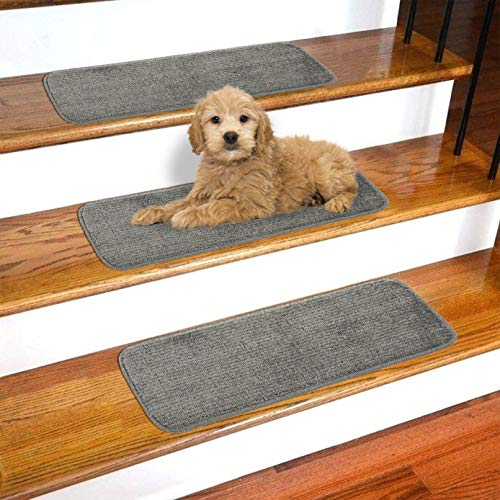 Ottomanson Softy Collection Non-Slip Solid Soft Design 14-Pack Stair Tread, 9
