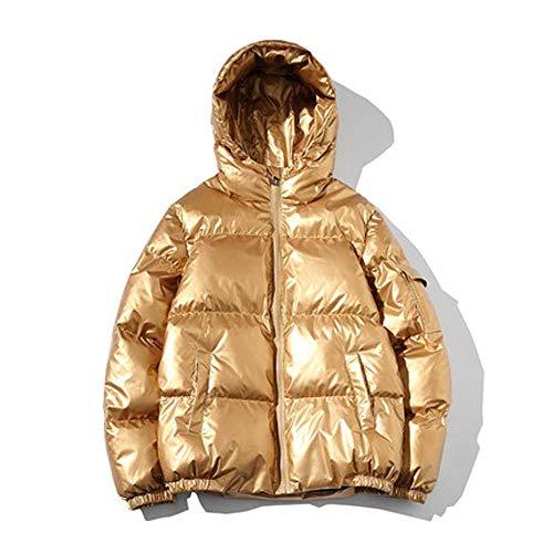 KJMAO Piumino Invernale da Donna Oversize 90% Piuma D'Anatra Bianca con Cappuccio, Spesso e Caldo Oro XL