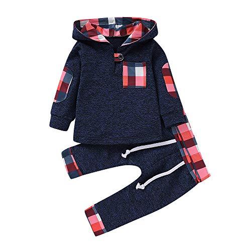 Fossen 6 Meses - 3 años Niño Cuadros Sudadera con Capucha Pantalones Conjunto de Ropa Otoño e Invierno (6-12 Meses, Dark Gray)