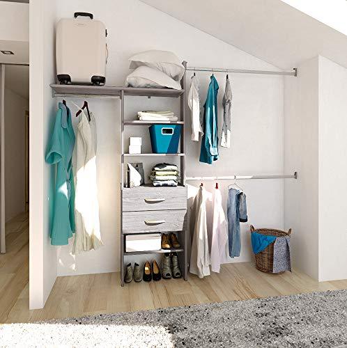 PLAYCON Closet armable Organizador OPTIMO con cajonera 2 cajones Ancho máximo de 246 cm Color Gris Texturizad