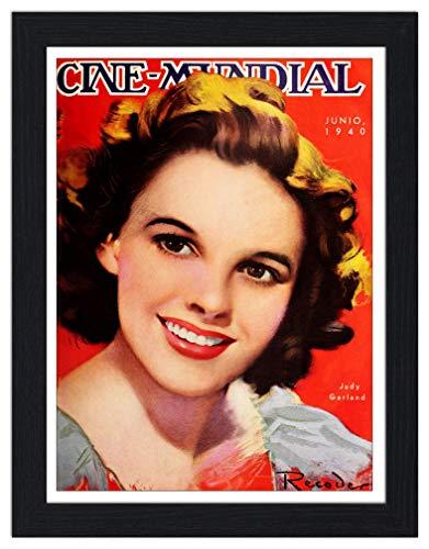 RetroArt Judy Garland Cine Mundial Magazine Cover - Framed Print 35x45cm Black